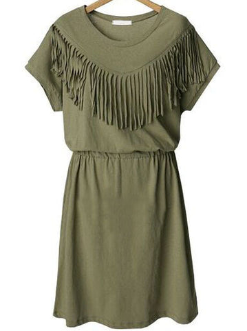 Army Green Short Sleeve Tassel Plus Dress