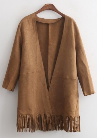 3 4 Sleeve Solid Color Fringe Faux Suede Coat For Women
