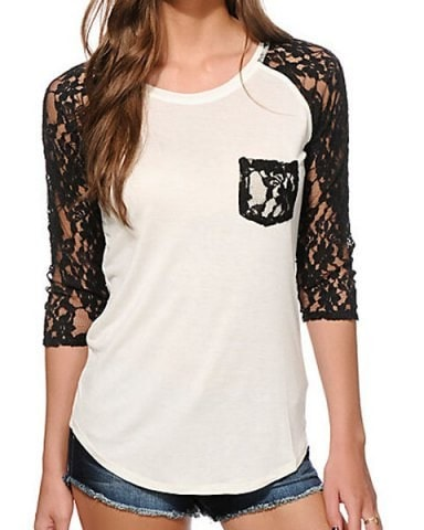 3 4 Sleeve Lace Splicing Slimming T Shirt For Women