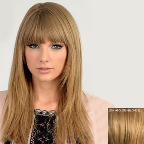 100 Percent Human Hair Long Fluffy Neat Bang Straight Wig