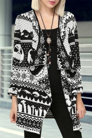 Abstract Printed Turn Down Collar Cardigan