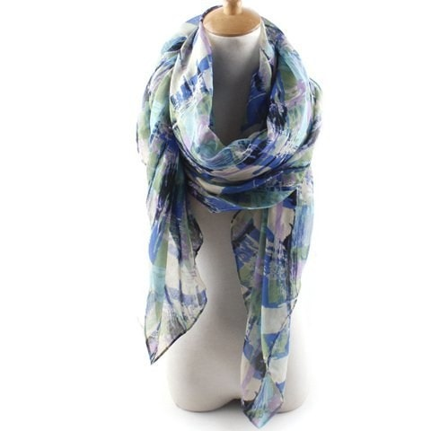 Abstract Pattern Voile Scarf For Women