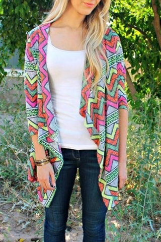 3 4 Sleeve Colorful Zigzag Printed Asymmetric Cardigan