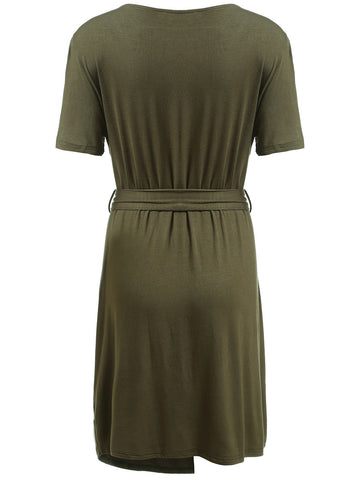 Army Green Deep Plunge Neck Self-Tie Wrap Plus Dress
