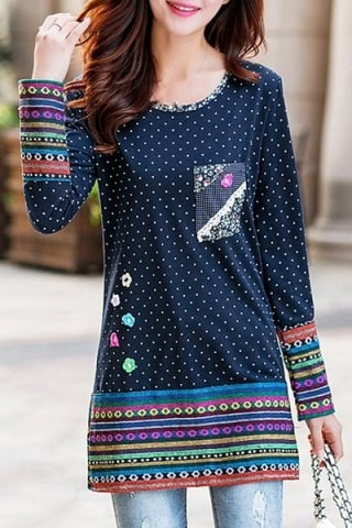 3D Flower Patched Polka Dot Printed Fleece Long T Shirt