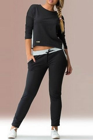 3 4 Sleeve Color Block Back Zippered T Shirt and Elastic Waist Pants Twinset