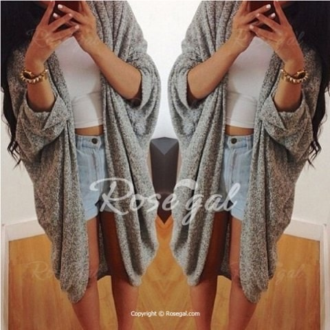 3 4 Sleeve Loose Collarless Solid Color Cardigan
