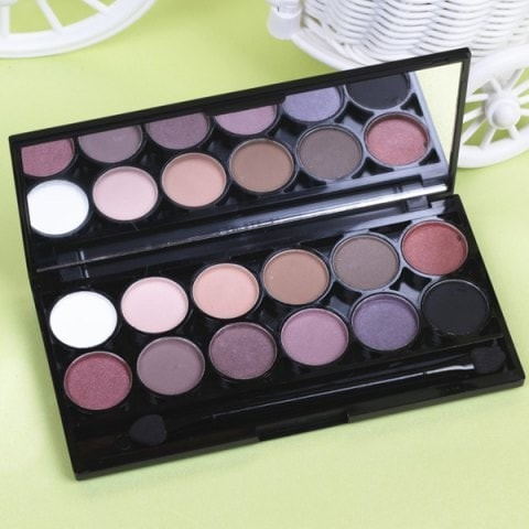 12 Colours Smoky Eye Pearl Matte Eyeshadow Palette with Mirror and Brush