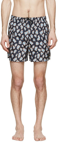 Acne Studios Navy Perry Print Swimsuit