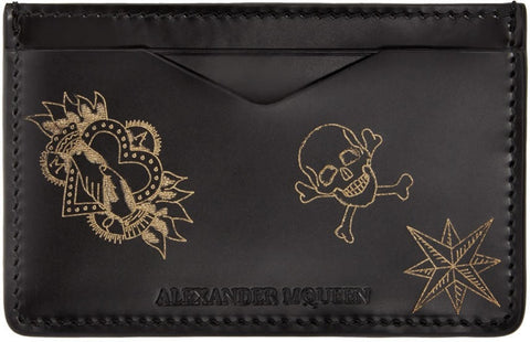 Alexander Mcqueen Black Leather Tattoo Card Holder