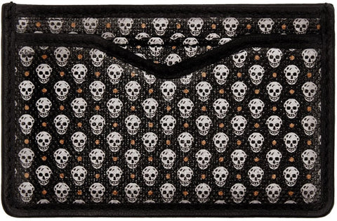 Alexander Mcqueen Black Skull Print Card Holder