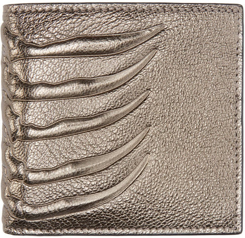 Alexander Mcqueen Pewter Leather Ribcage Wallet