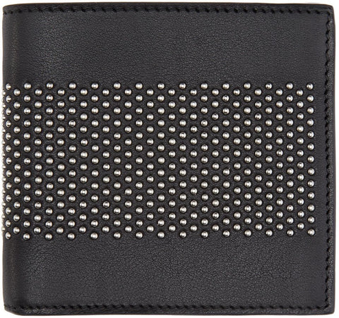 Alexander Mcqueen Black Leather Studded Liliput Wallet
