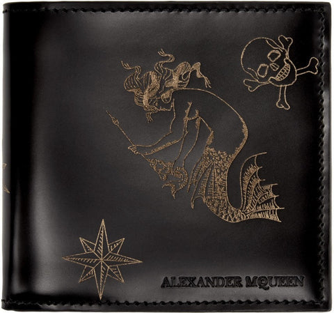 Alexander Mcqueen Black Leather Tattoo Wallet