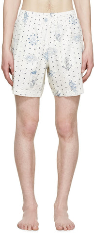 Alexander Mcqueen Cream Tattoo Swim Shorts