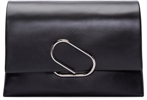 3.1 Phillip Lim Black Medium Flap Alix Clutch