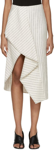 3.1 Phillip Lim Off-white Pinstripe Linen Skirt