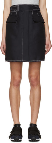 3.1 Phillip Lim Navy Contrast Stitching Skirt