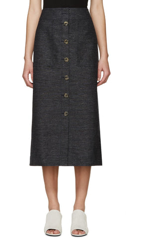 3.1 Phillip Lim Navy Button-front Skirt