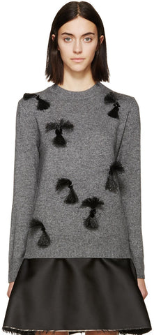 3.1 Phillip Lim Grey Fringed and Beaded Sweater