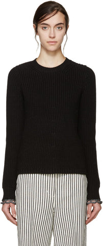 3.1 Phillip Lim Black Flared Knit Sweater