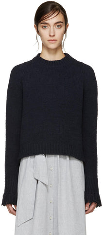 3.1 Phillip Lim Navy Fringed Cuff Sweater