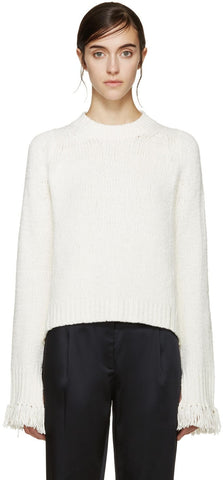 3.1 Phillip Lim Ivory Fringed Cuff Sweater