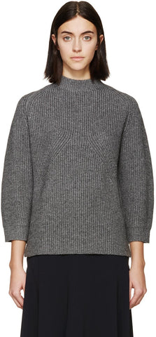 3.1 Phillip Lim Grey Ribbed Knit Sweater