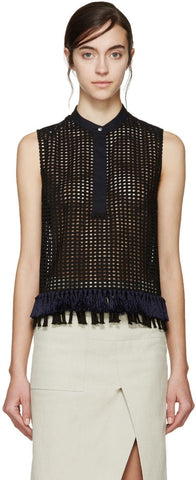 3.1 Phillip Lim Black Fringed Cord Top