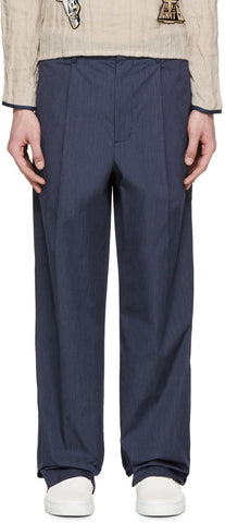 3.1 Phillip Lim Navy Pinstriped Wide-leg Trousers