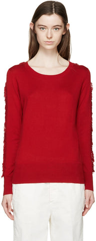 Aalto Red Fringed Sleeve Sweater