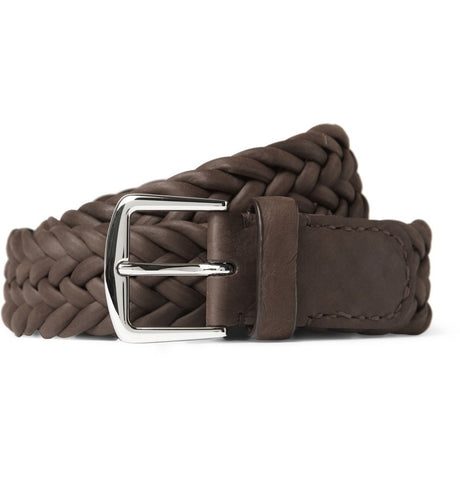 3.5cm Brown Delon Woven Leather Belt Brown