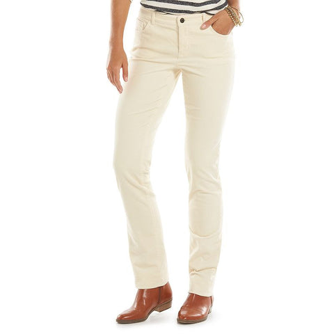 Chaps Corduroy Straight-Leg Pants - Women's Beige Over
