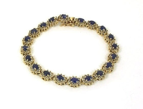 """14K Diamonds & Oval Sapphires Ladies Bracelet"" - SprintShopping"