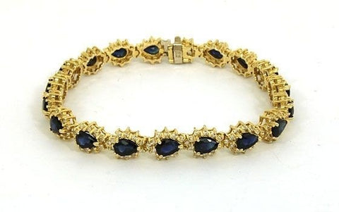 """14K Gold Diamonds & Pear Shaped Sapphires Bracelet"" - SprintShopping"