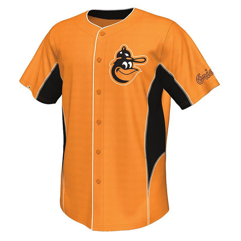 Big & Tall Majestic Baltimore Orioles Cooperstown Team Leader Jersey Men's Org/Black (Polyester/Woven)