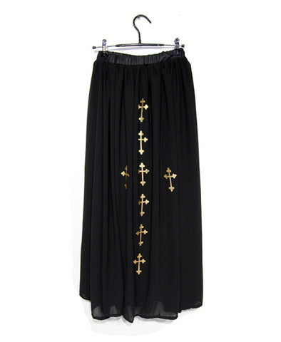 Black Sheer Maxi Skirt with Golden Cross Print_1202