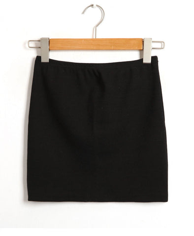 Black Mini Pencil Skirt with Rib Details_5918