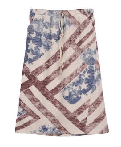 American Flag Print Skirt with Drawstring Waist_2545
