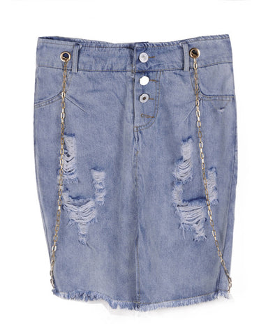 Body-con Denim Skirt with Chain Braces_1147