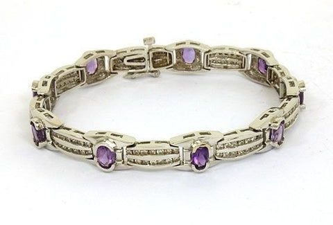 """14K Gold 6.50ct. Diamonds & Amethyst Ladies Bracelet"" - SprintShopping"
