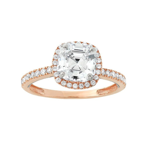 """10k Two Tone Gold Cubic Zirconia Tiered Halo Ring"" - SprintShopping"