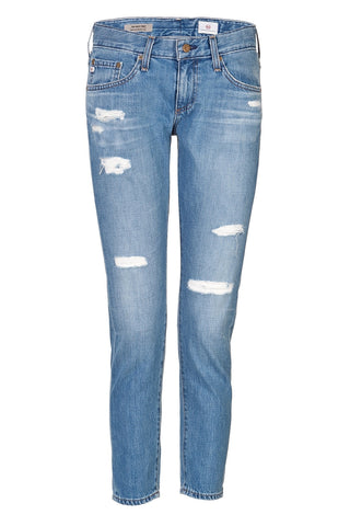 AG Adriano Goldschmied Distressed Cropped Jeans - blue