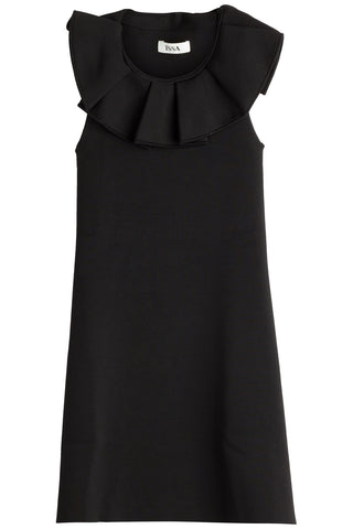 Issa Jemmima Dress with Ruffled Front - black