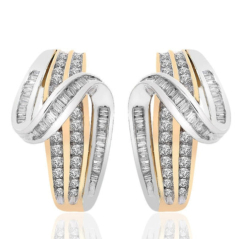 """10K Two Tone Gold Diamond Accent Twist J-Hoop Earrings"" - SprintShopping"