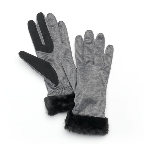 Apt. 9® Ruched Faux-Fur Women's Gloves, Size: L-XL, Stonewall