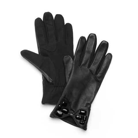 Apt. 9® Rhinestone Bow Tech Women's Leather Gloves, Size: S-M, Black