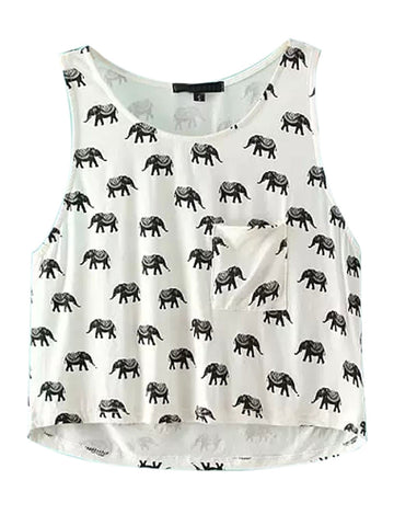 White Elephant Pattern Loose Cropped Vest