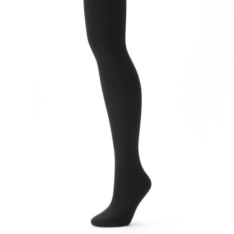 Apt. 9® Plush Fleece Lined Tights Women's Black Tie
