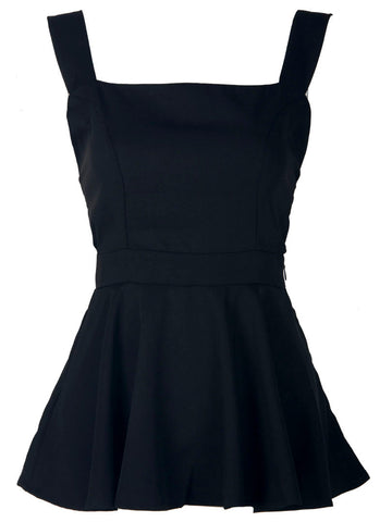 Black Gallus Peplum Vest